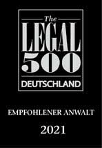 Logo - LEGAL 500 empfohlener Anwalt 2021